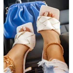 Shoes - !! EXCLUSIVE !! Square Toe Braided Mule in White